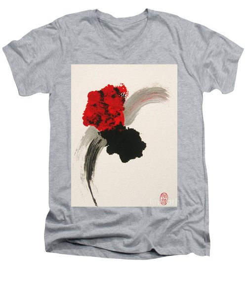 Men's V-Neck T-Shirt featuring the painting Maruhanabachi by Roberto Prusso