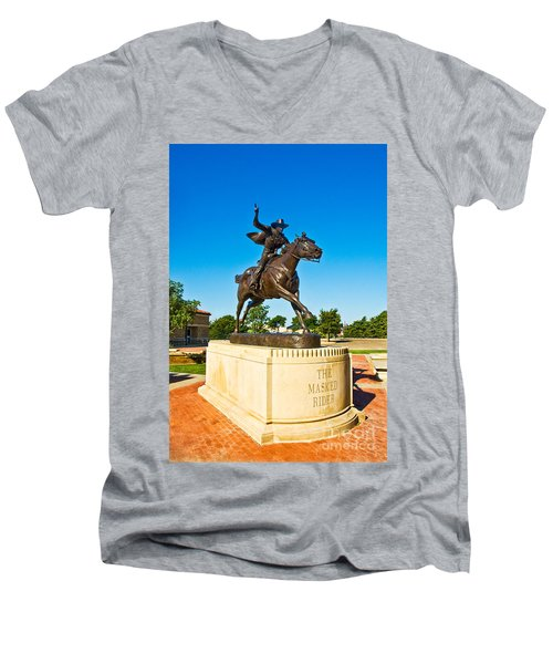 Men's V-Neck T-Shirt featuring the photograph Masked Rider Statue by Mae Wertz