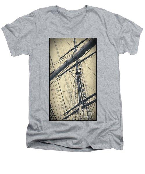 Mast And Rigging Postcard Men's V-Neck T-Shirt