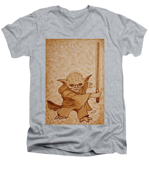 Men's V-Neck T-Shirt featuring the painting Master Yoda Jedi Fight Beer Painting by Georgeta  Blanaru