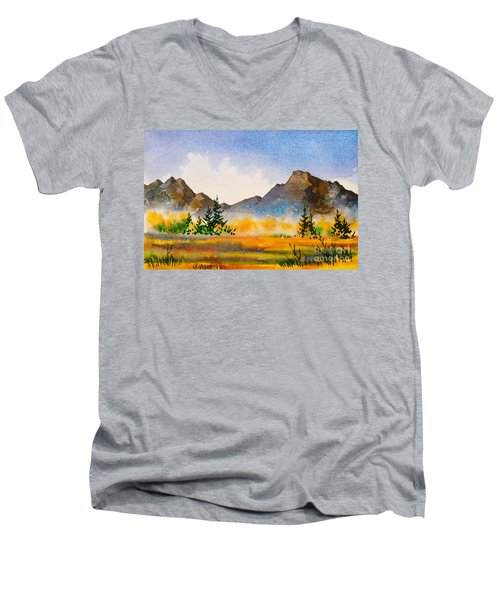 Men's V-Neck T-Shirt featuring the painting Matanuska Autumn by Teresa Ascone