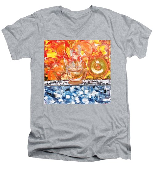 Men's V-Neck T-Shirt featuring the painting Matinal by Evelina Popilian