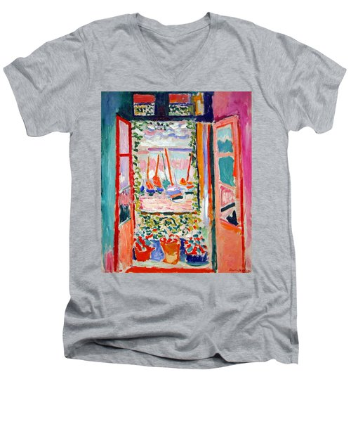 Matisse's Open Window At Collioure Men's V-Neck T-Shirt by Cora Wandel