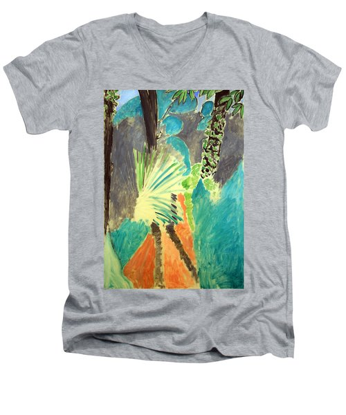 Matisse's Palm Leaf In Tangier Men's V-Neck T-Shirt by Cora Wandel