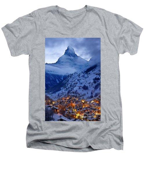 Matterhorn At Twilight Men's V-Neck T-Shirt by Brian Jannsen