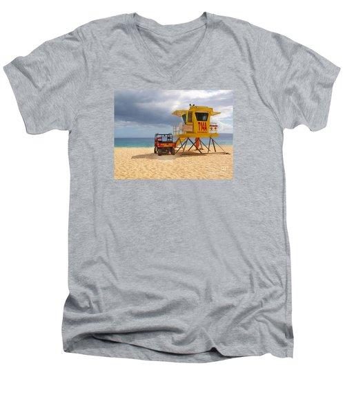 Maui Lifeguard Tower Men's V-Neck T-Shirt