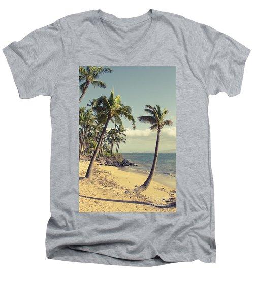 Men's V-Neck T-Shirt featuring the photograph Maui Lu Beach Hawaii by Sharon Mau