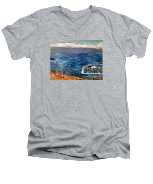 Men's V-Neck T-Shirt featuring the painting Frida Goes To Maui by Vanessa Palomino