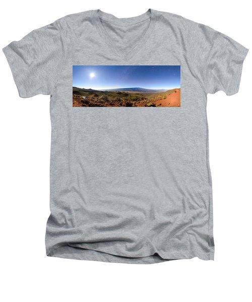 Mauna Loa Moonlight Panorama Men's V-Neck T-Shirt