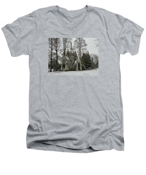 Mausoleum In Winter Men's V-Neck T-Shirt by Kathy Barney