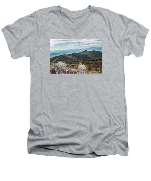 Men's V-Neck T-Shirt featuring the photograph Max Patch In Appalachian Mountains by Debbie Green
