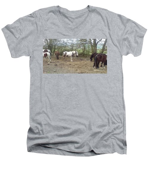Men's V-Neck T-Shirt featuring the photograph May Hill Ponies 1 by John Williams