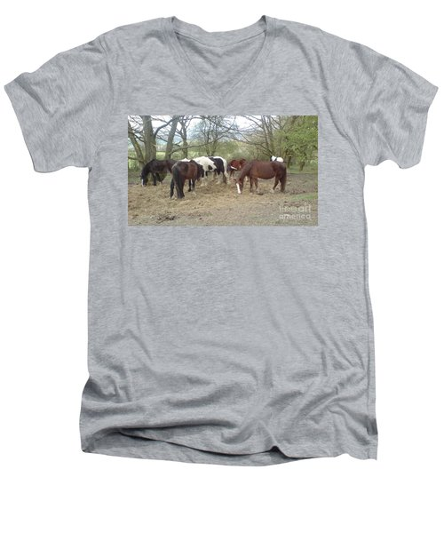 Men's V-Neck T-Shirt featuring the photograph May Hill Ponies 3 by John Williams