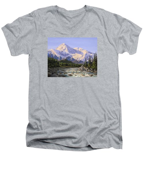 Majestic Denali Alaskan Painting Of Denali Men's V-Neck T-Shirt by Karen Whitworth