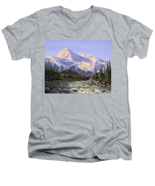 Majestic Denali Mountain Landscape - Alaska Painting - Mountains And River - Wilderness Decor Men's V-Neck T-Shirt