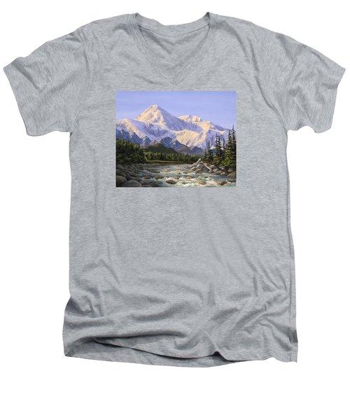 Majestic Denali Alaskan Painting Of Denali Men's V-Neck T-Shirt