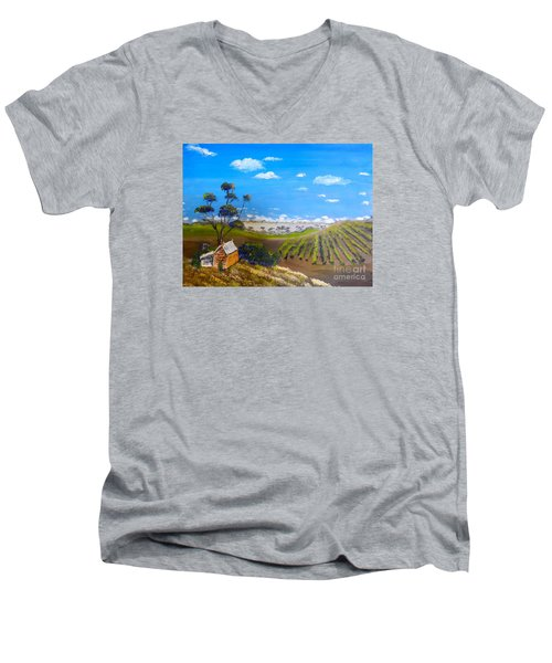 Mclarren Vale Vine Yards Men's V-Neck T-Shirt by Pamela  Meredith