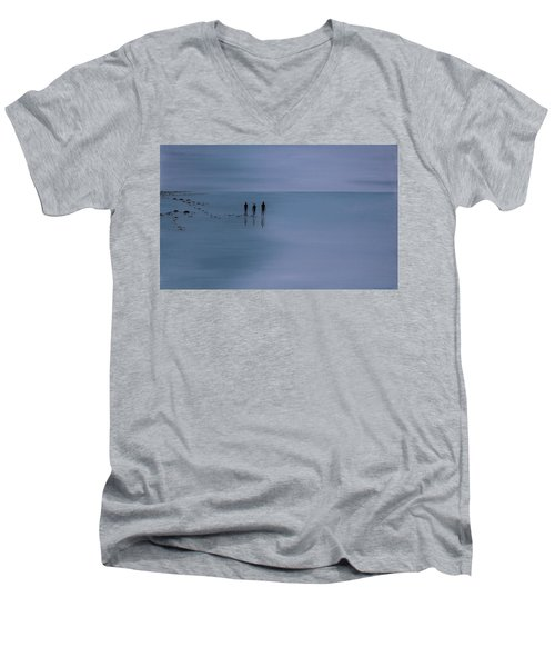 Men's V-Neck T-Shirt featuring the painting Mdt 1.2 by Tim Mullaney