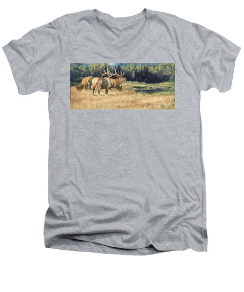 Men's V-Neck T-Shirt featuring the painting Meadow Music by Rob Corsetti