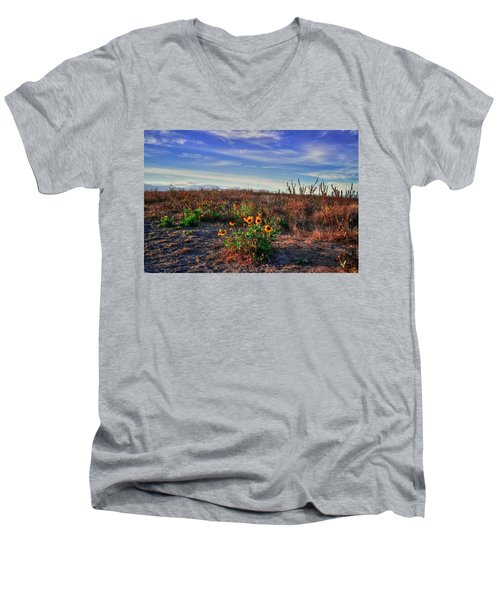 Men's V-Neck T-Shirt featuring the photograph Meadow Of Wild Flowers by Eti Reid