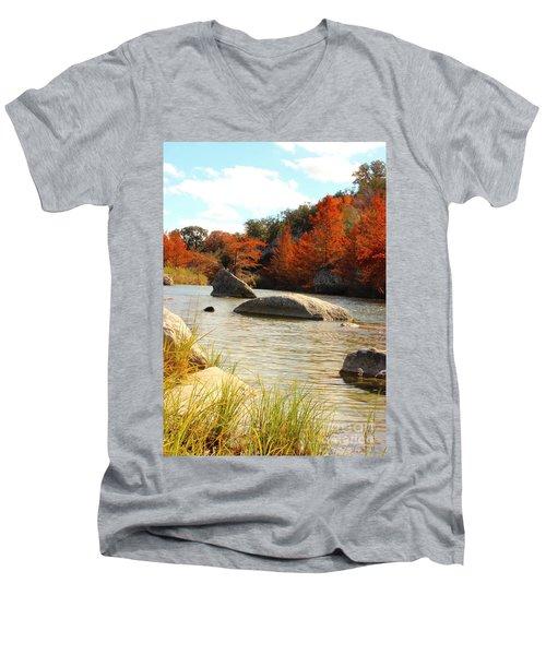 Fall Cypress At Bandera Falls On The Medina River Men's V-Neck T-Shirt