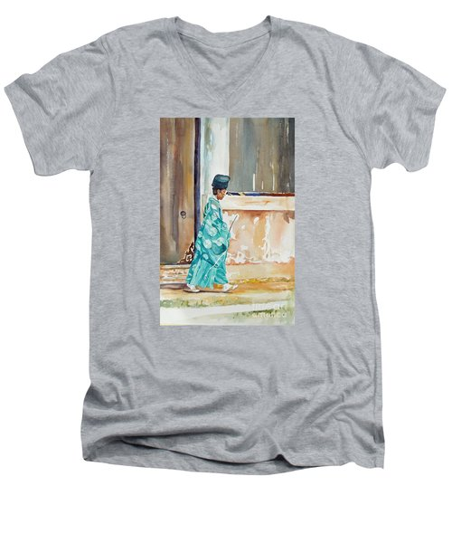 Men's V-Neck T-Shirt featuring the painting Meditation  by Mary Haley-Rocks