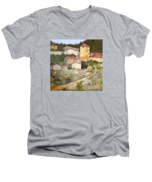 Men's V-Neck T-Shirt featuring the painting Mediterranean Farm by Alan Lakin
