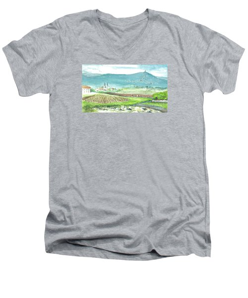 Men's V-Neck T-Shirt featuring the painting Medjugorje Fields by Christina Verdgeline