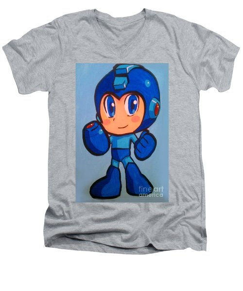 Men's V-Neck T-Shirt featuring the painting Mega Man by Marisela Mungia