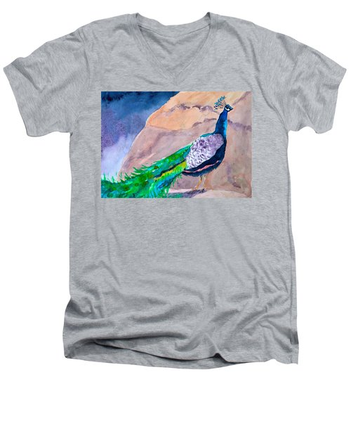 Mellow Peacock Men's V-Neck T-Shirt by Beverley Harper Tinsley