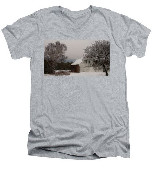 Men's V-Neck T-Shirt featuring the photograph Melvin Village Barn In Winter by Brenda Jacobs