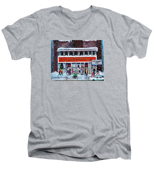 Men's V-Neck T-Shirt featuring the painting Memories Of Winter At Woolworth's by Rita Brown