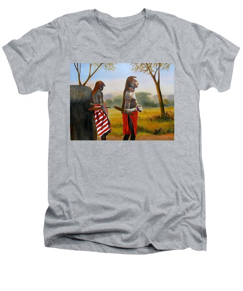 Men Of The Maasai Men's V-Neck T-Shirt
