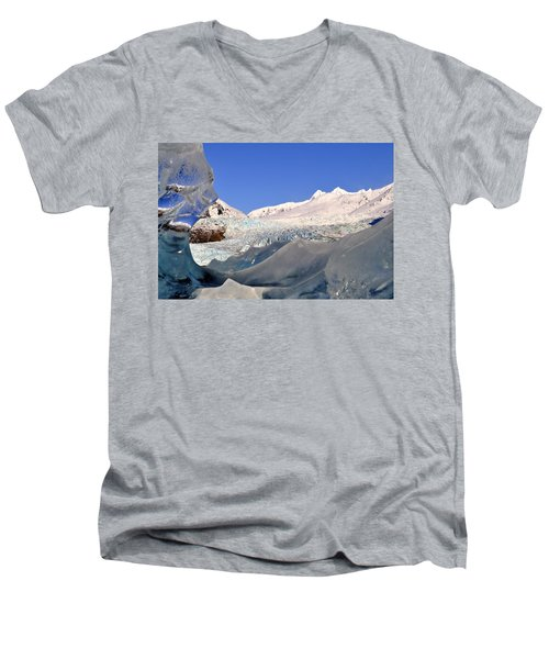 Men's V-Neck T-Shirt featuring the photograph Mendenhall Glacier Refraction by Cathy Mahnke