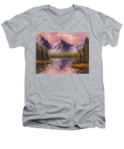 Men's V-Neck T-Shirt featuring the painting Mental Mountain by Jason Williamson