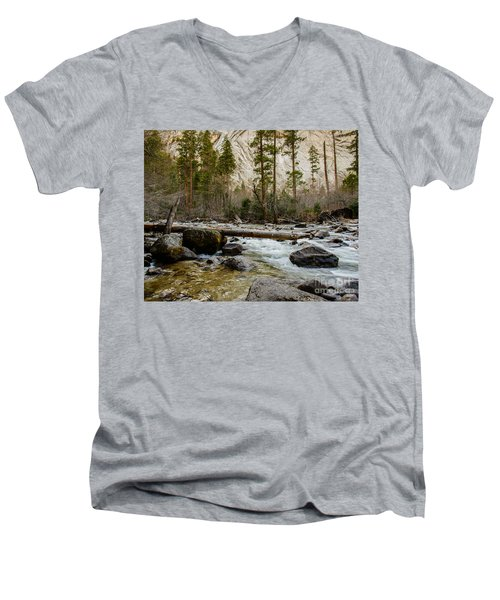 Merced River From Happy Isles 2 Men's V-Neck T-Shirt