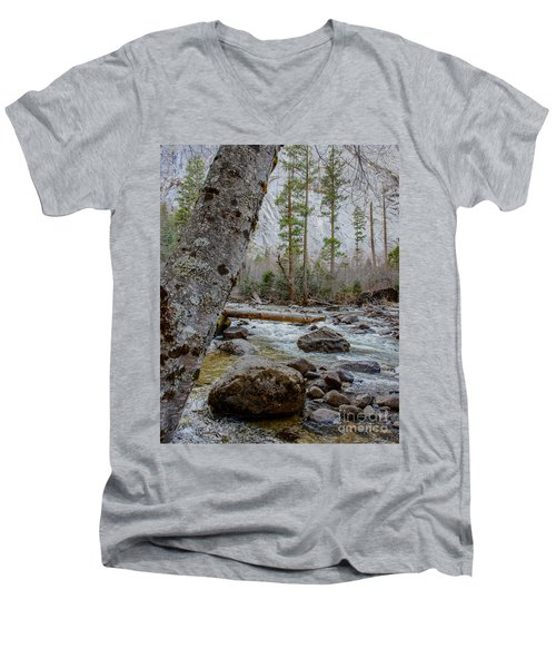 Merced River From Happy Isles Men's V-Neck T-Shirt