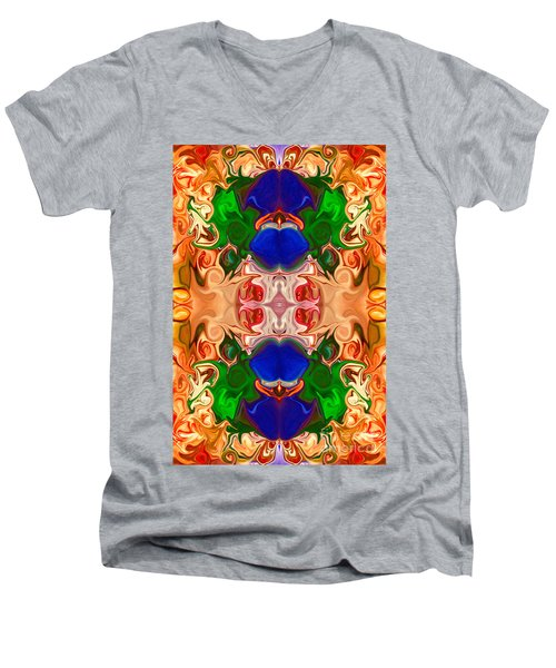 Men's V-Neck T-Shirt featuring the digital art Merging Consciousness With Abstract Artwork By Omaste Witkowski  by Omaste Witkowski