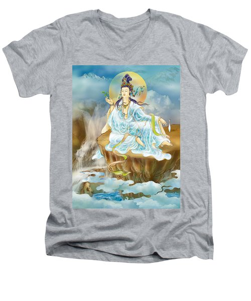 Merit King Kuan Yin Men's V-Neck T-Shirt by Lanjee Chee