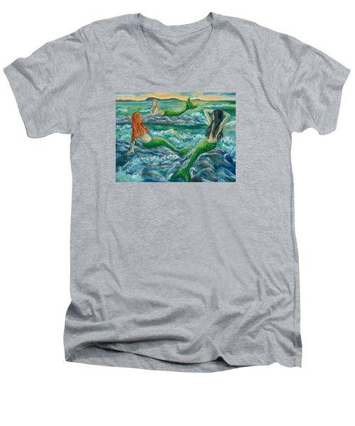Mermaids On The Rocks Men's V-Neck T-Shirt