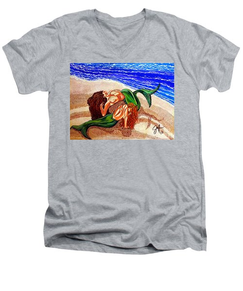 Men's V-Neck T-Shirt featuring the painting Mermaids Spent Jackie Carpenter by Jackie Carpenter