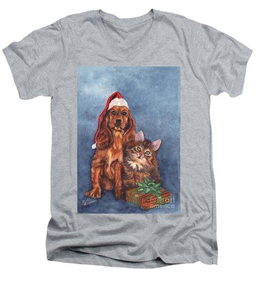 Men's V-Neck T-Shirt featuring the painting Merry Christmas by Carol Wisniewski