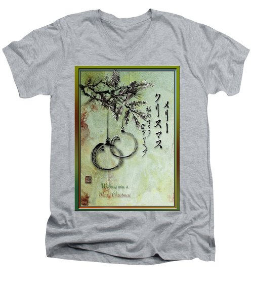 Men's V-Neck T-Shirt featuring the painting Merry Christmas Japanese Calligraphy Greeting Card by Peter v Quenter