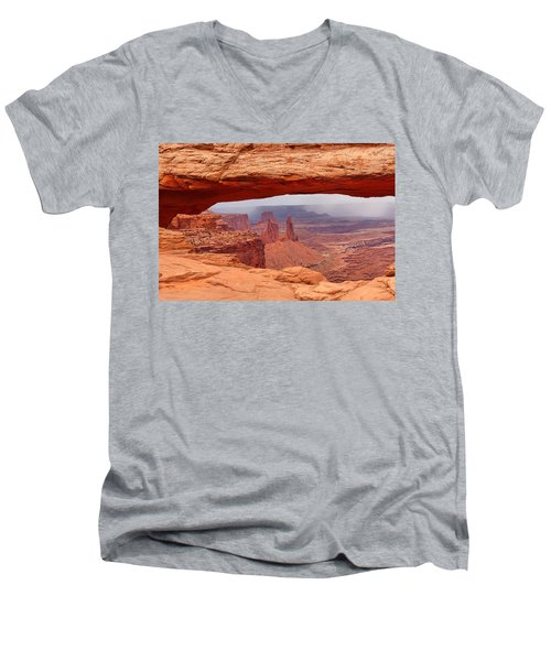 Men's V-Neck T-Shirt featuring the photograph Mesa Arch In Canyonlands National Park by Mitchell R Grosky