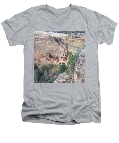 Men's V-Neck T-Shirt featuring the photograph Mesa Verde Colorado Cliff Dwellings 1 by Richard W Linford