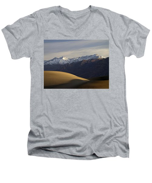 Men's V-Neck T-Shirt featuring the photograph Mesquite Dunes And Grapevine Range by Joe Schofield