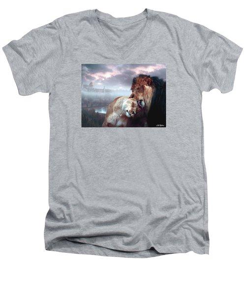Yeshua Loves Israel Men's V-Neck T-Shirt