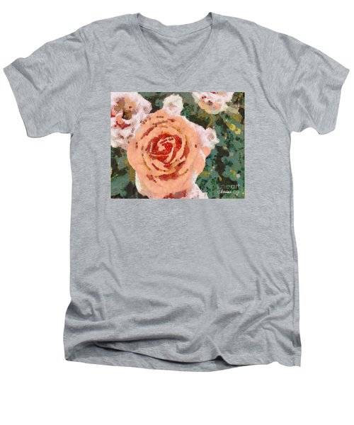 Men's V-Neck T-Shirt featuring the painting Alameda Meyers House Garden Klimt Rose by Linda Weinstock
