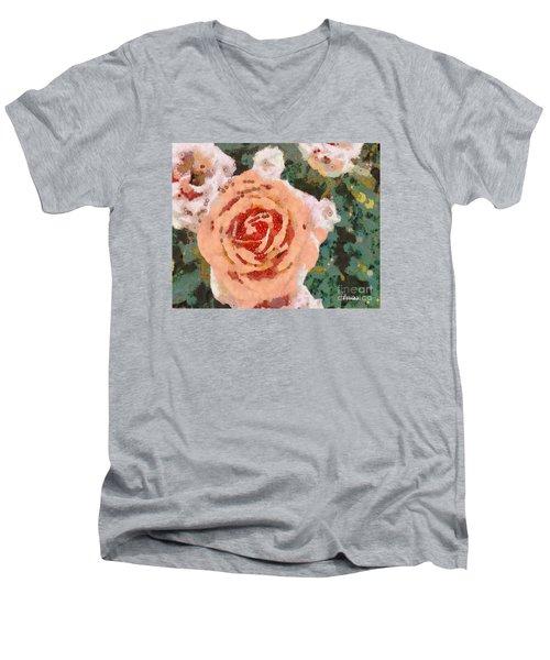 Alameda Meyers House Garden Klimt Rose Men's V-Neck T-Shirt by Linda Weinstock