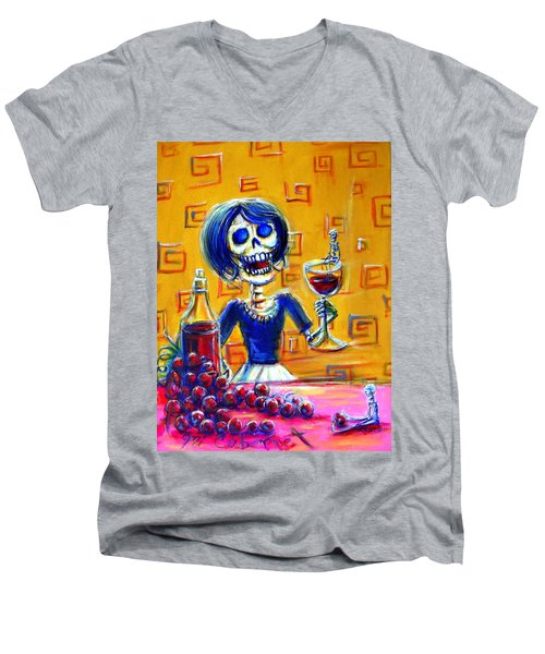 Men's V-Neck T-Shirt featuring the painting Mi Cabernet by Heather Calderon